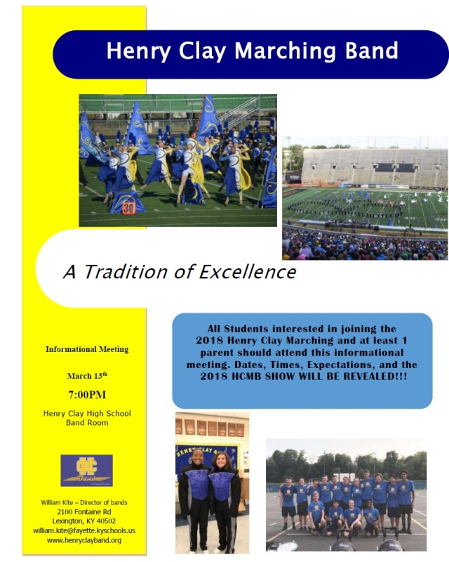 HC Marching Band Info Meeting- Tues. March 13 at 7 PM